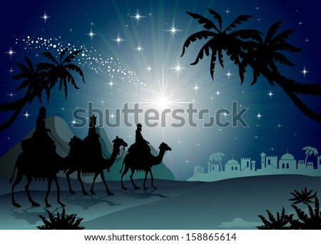 Three Wise Men with camel in the starry night landscape with eastern-transparency blending effects and gradient mesh-EPS 10 - stock vector
