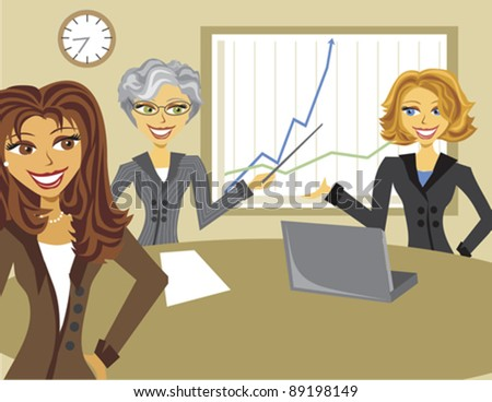 Three woman conducting a business meeting or presentation. - stock vector