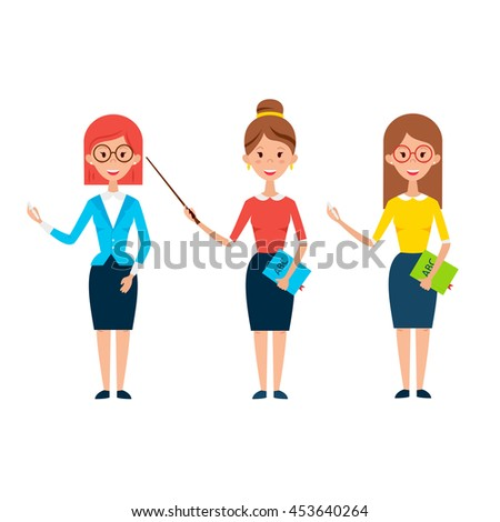 Three Women Teacher Characters. Flat Style Vector Illustration of Business People Pedagog isolated over White. - stock vector