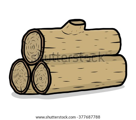 three wooden log / cartoon vector and illustration, hand drawn style, isolated on white background. - stock vector