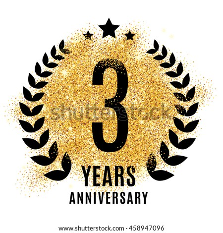Three Years Anniversary Symbol Gold Glitter Stock Vector Hd Royalty