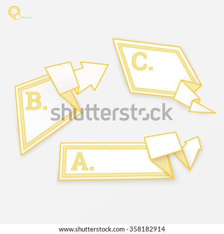 Three Yellow Arrows and a Bubble Speech Illustration in Origami Style - stock vector