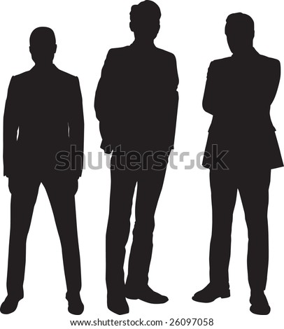 three young and sure businessman - stock vector