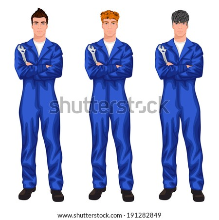 Three young auto mechanics with trendy hairstyles for red, dark brown and chestnut haired man vector illustration