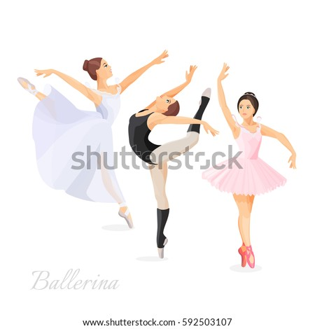 Three young ballet dancers standing in pose flat design on white background. Vector illustration of ballerinas in special dancing dresses
