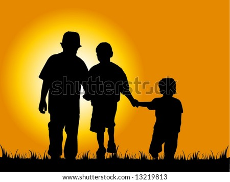 Three young boys walking and holding hands - stock vector