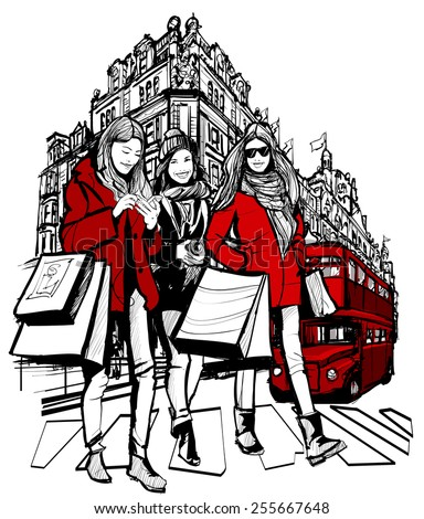 Three young fashionable women shopping in London- vector illustration - stock vector