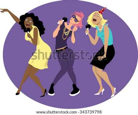 Three young funny woman singing karaoke at a party or in a bar, EPS 8 vector illustration - stock vector