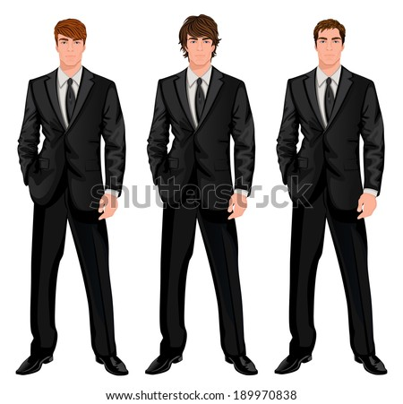 Three young handsome businessmen in formal suits with different brown hairstyles vector illustration - stock vector
