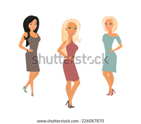 Three young women are posing. Isolated on white - stock vector