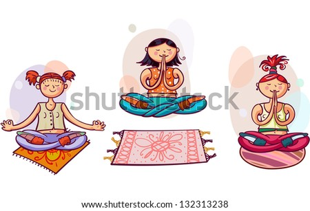 Three young yoga women in lotus poses. Healthy lifestyle - stock vector