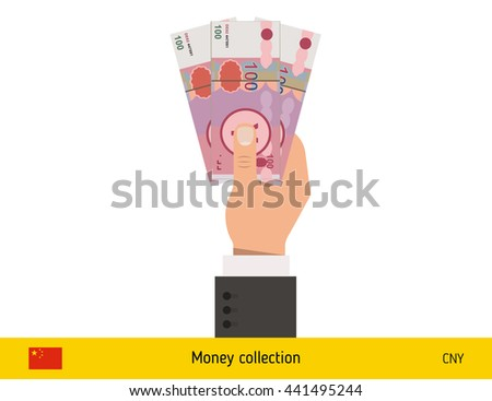 Three yuan in hand. Chinese yuan banknote vector illustration.