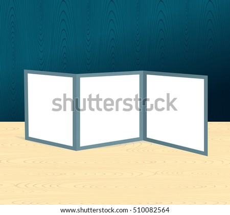 Threefold brochure realistic mockup on the wooden scene or table and wall. Vector illustration
