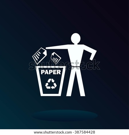 Throw away the trash icon, recycle icon. Flat Vector illustration