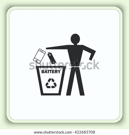 Throw away the trash icon, recycle icon. Flat Vector illustration, Throwing trash icon, recycle icon,  Place trash icon, recycle icon