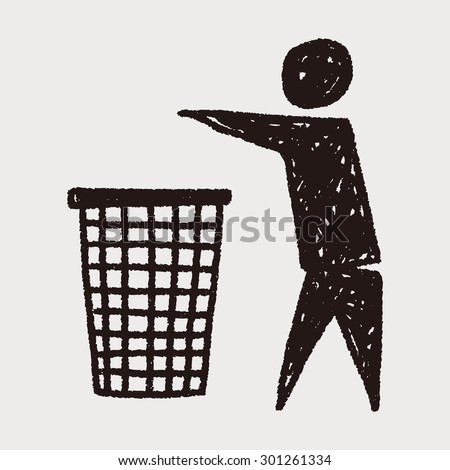 Throw trash doodle - stock vector