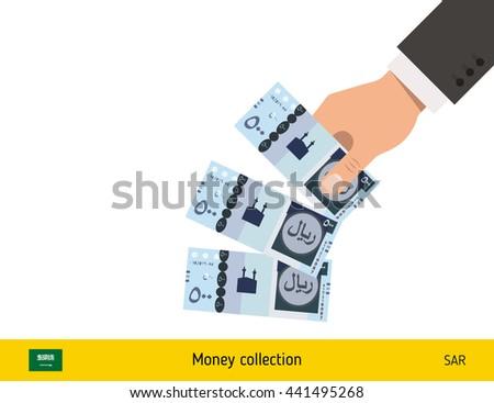 Throwing three riyal. Saudi Arabian riyal banknote. - stock vector