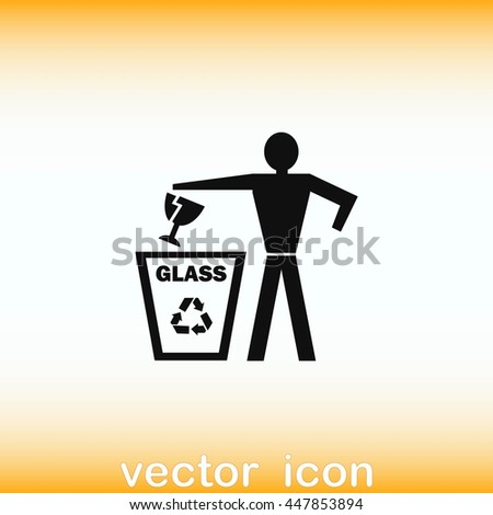 Throwing trash icon, recycle icon. Flat Vector illustration