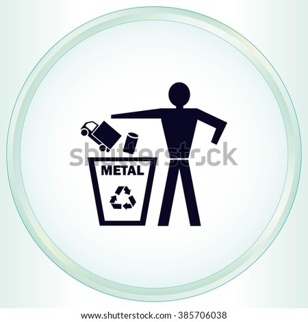 Throwing trash, recycling  icon. Flat Vector illustration