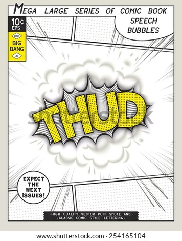 Thud. Explosion in comic style with lettering and realistic puffs smoke. 3D vector pop art speech bubble - stock vector