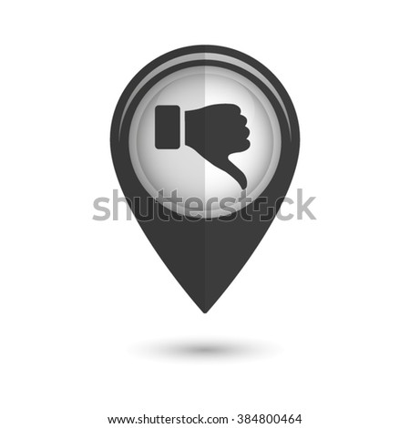 thumb down gesture - vector icon;  black map pointer - stock vector