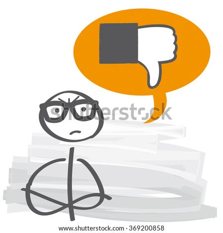 thumb down in a speech bubble- dislike, vector illustration - stock vector