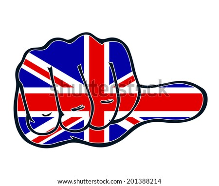 Thumb judgment even England UK United Kingdom Great Britain - stock vector