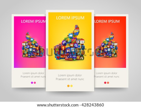 Thumb silhouette with many application icons banner set. Yes symbol. Social multimedia. Ok application icon. Vector illustration - stock vector