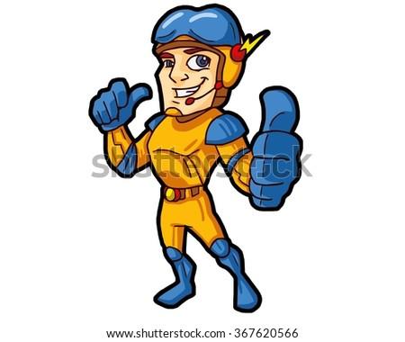 thumb super hero man astronaut suit stock vector royalty free