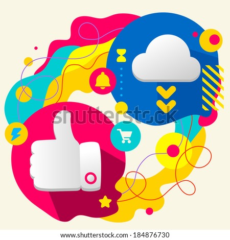 Thumb up and cloud on abstract colorful splashes background with different icon and elements. Flat design for the web, print, banner, advertising. - stock vector