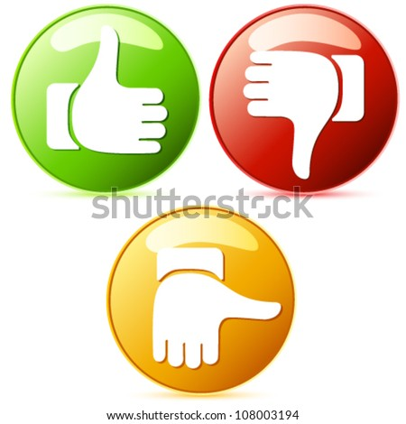 Thumb up and down buttons - vector illustration - stock vector
