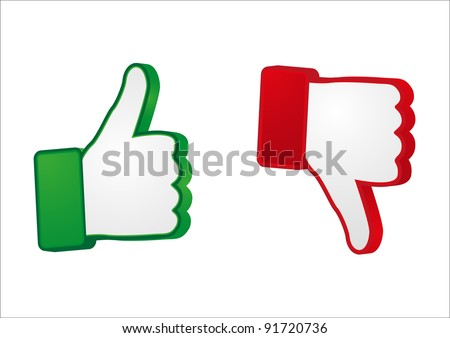 thumb up and down gesture - stock vector