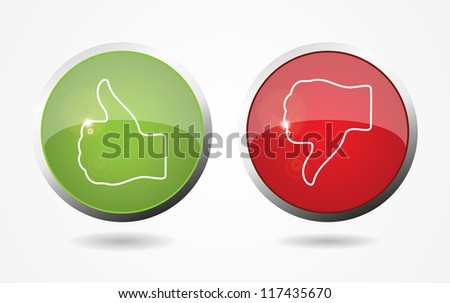 Thumb Up And Down Web Color Buttons. Vector illustration. Eps10. - stock vector