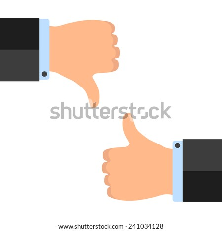 Thumb up and low isolated on white background - stock vector