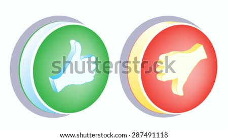 Thumb up and Thumb down button, colored, 3d vector - stock vector