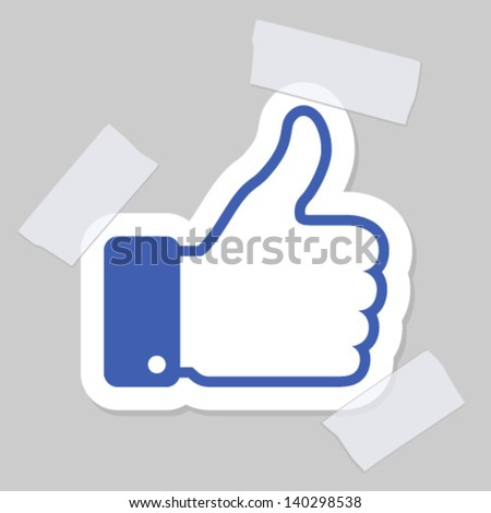 thumb up applique, vector illustration - stock vector