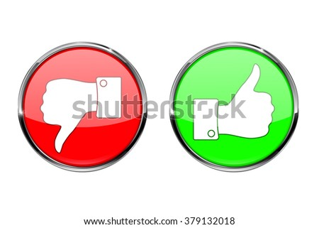 Thumb up button and thumb down button, round shiny icon. Vector illustration isolated on white background. - stock vector