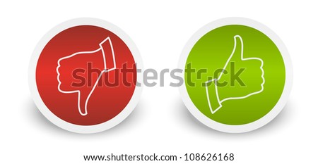 Thumb up down buttons stickers - stock vector