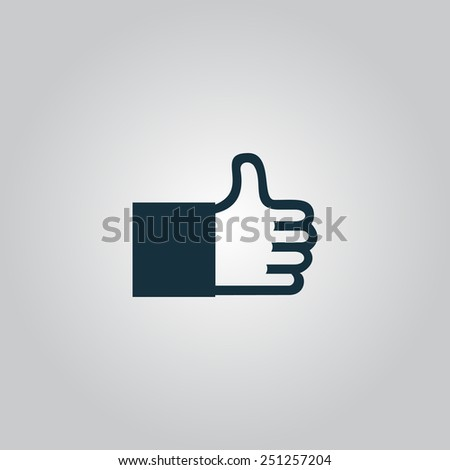 Thumb up. Flat web icon, sign or button isolated on grey background. Collection modern trend concept design style vector illustration symbol - stock vector