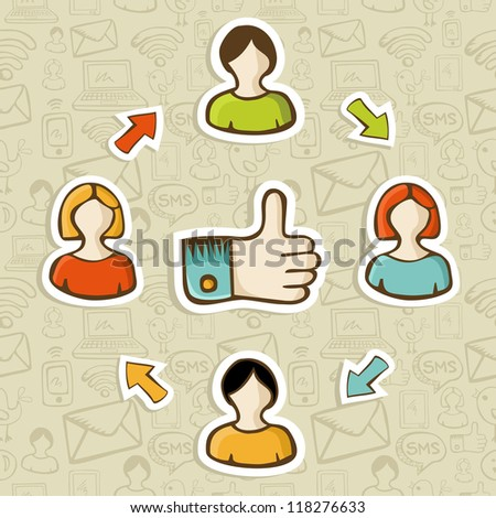 Thumb up friendship social media diagram over seamless pattern background. Vector illustration layered for easy manipulation and custom coloring.