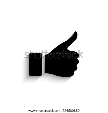 thumb up gesture - black vector icon with shadow - stock vector