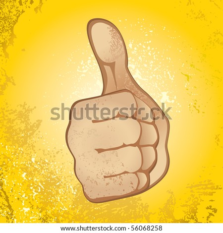 Thumb Up Gesture (Expressing Satisfaction, Approvement, Success) - stock vector