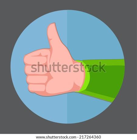 thumb up gesture - flat design vector  - stock vector