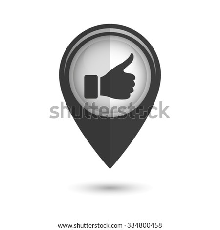 thumb up gesture - vector icon;  black map pointer - stock vector