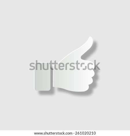 thumb up gesture  - vector icon with shadow - stock vector