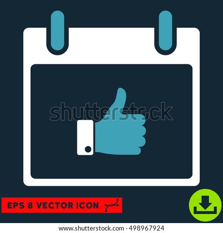 Thumb Up Hand Calendar Day icon. Vector EPS illustration style is flat iconic bicolor symbol, blue and white colors.