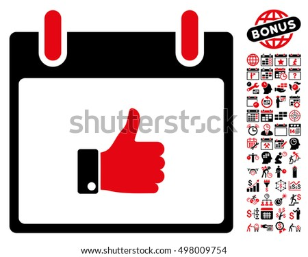 Thumb Up Hand Calendar Day icon with bonus calendar and time management icon set. Vector illustration style is flat iconic symbols, intensive red and black, white background.