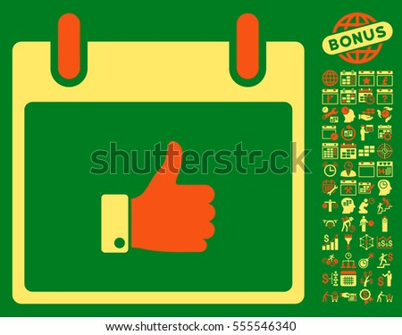 Thumb Up Hand Calendar Day icon with bonus calendar and time management symbols. Vector illustration style is flat iconic symbols, orange and yellow, green background.
