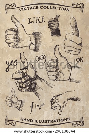 Thumb up hand signs. Set of vintage style pen and ink hand illustrations hands - stock vector