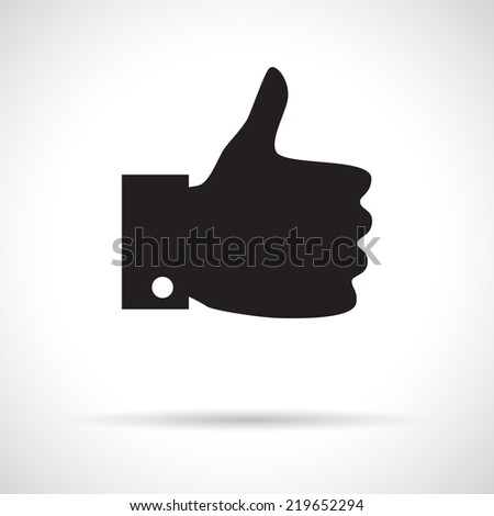 Thumb up icon. Black flat symbol with shadow. Approval concept - stock vector